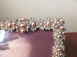 Pearl Like Decorated Metal Antiqued Photo Frame Bubble Looking Design image 3