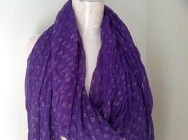 Purple Scrunched Style Real Gold Stamped Embossed Beaded Scarf Beaded Tassels image 2