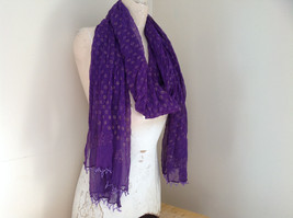 Purple Scrunched Style Real Gold Stamped Embossed Beaded Scarf Beaded Tassels image 5