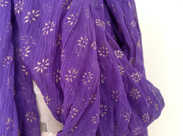 Purple Scrunched Style Real Gold Stamped Embossed Beaded Scarf Beaded Tassels image 4
