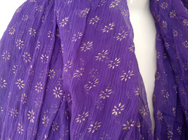 Purple Scrunched Style Real Gold Stamped Embossed Beaded Scarf Beaded Tassels image 3