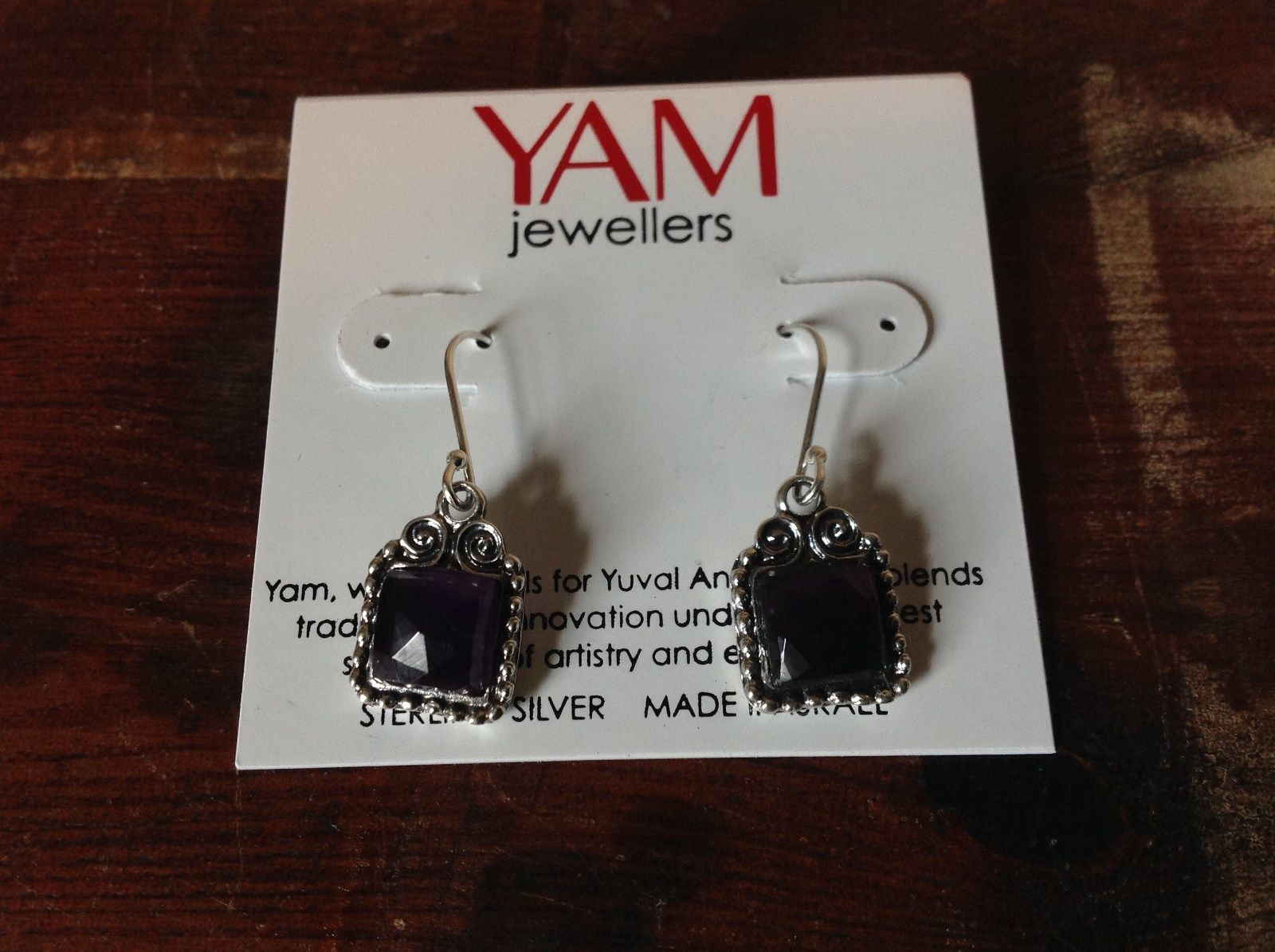 Square Amethyst Dangling Handcrafted 925 Sterling Silver Earrings