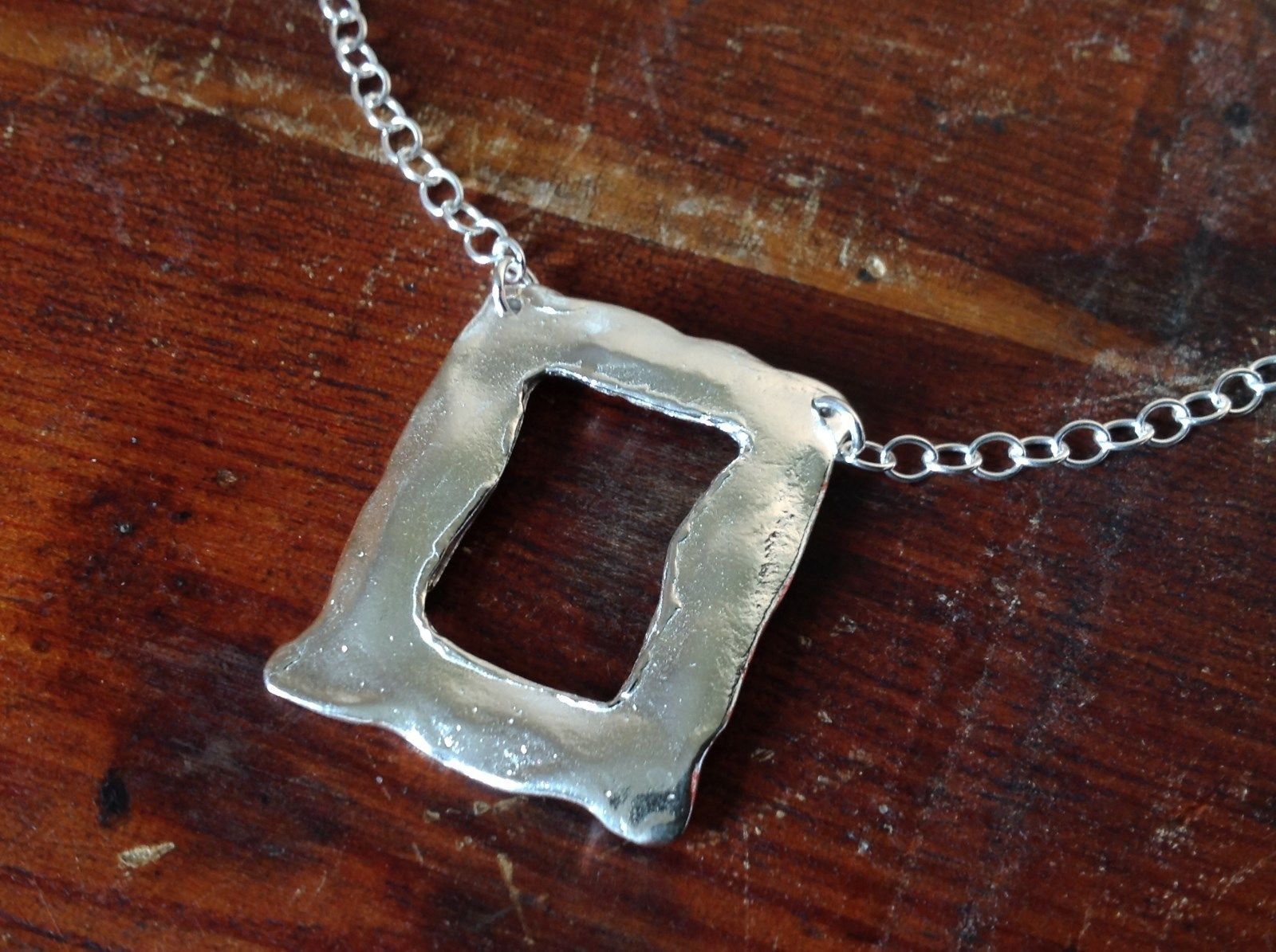 Square Hammered Design Handcrafted 925 Sterling Silver Necklace