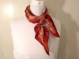 Square Totes Rain Scarf Burnt Orange and Tan colors Beautiful Paisley Pattern