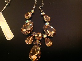 Sorrelli gold statement cascade gold crystal pear shaped stone bib necklace