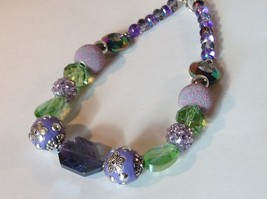 Purple Light Purple Green Beaded String Necklace 16 Inches Long image 3