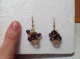 Purple Pink Bunched Bead Gold Tone Dangling Earrings Hook Backing image 5
