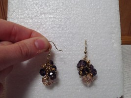Purple Pink Bunched Bead Gold Tone Dangling Earrings Hook Backing image 4