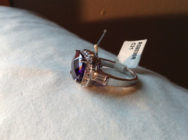 Purple Rounded Square Cut CZ Stainless Steel Ring Sizes 6 and 9 image 2