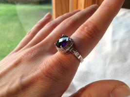 Purple Rounded Square Cut CZ Stainless Steel Ring Sizes 6 and 9 image 3