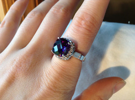 Purple Rounded Square Cut CZ Stainless Steel Ring Sizes 6 and 9 image 4