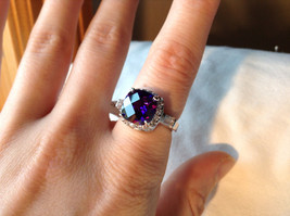 Purple Rounded Square Cut CZ Stainless Steel Ring Sizes 6 and 9 image 7