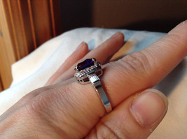 Purple Rounded Square Cut CZ Stainless Steel Ring Sizes 6 and 9 image 6
