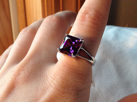 Purple Square Cut CZ Set Stainless Steel Ring Sizes 7 and 8 and 9  image 6