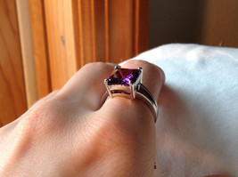 Purple Square Cut CZ Set Stainless Steel Ring Sizes 7 and 8 and 9  image 5
