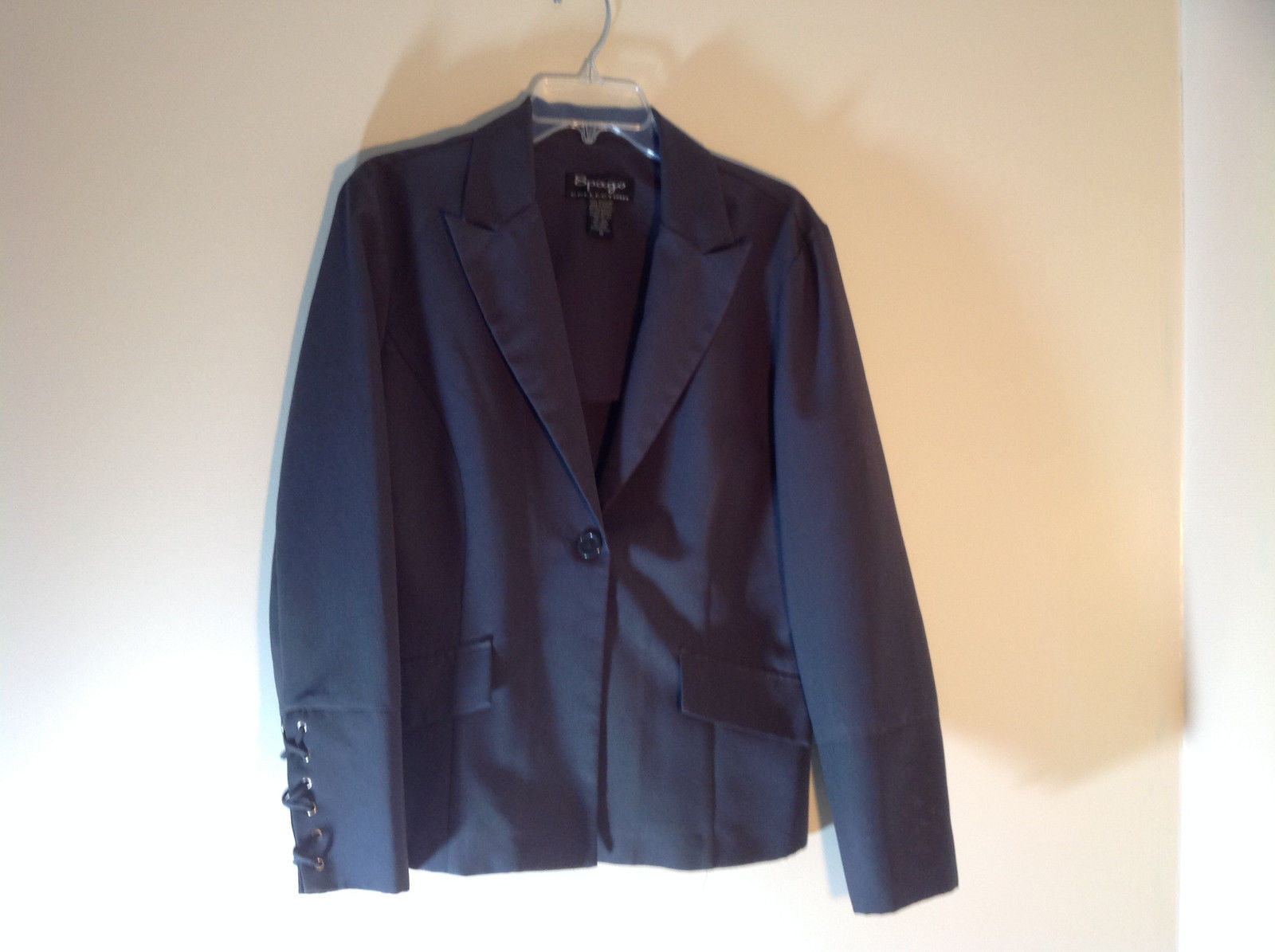 Spago Collection Dark Gray Black 1 Button 2 Faux Pockets Blazer Size 12