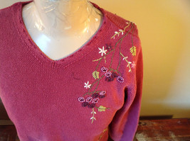 Purple Pink Long Sleeve Sweater Embroidered Flowers Made in China Tags Removed image 2