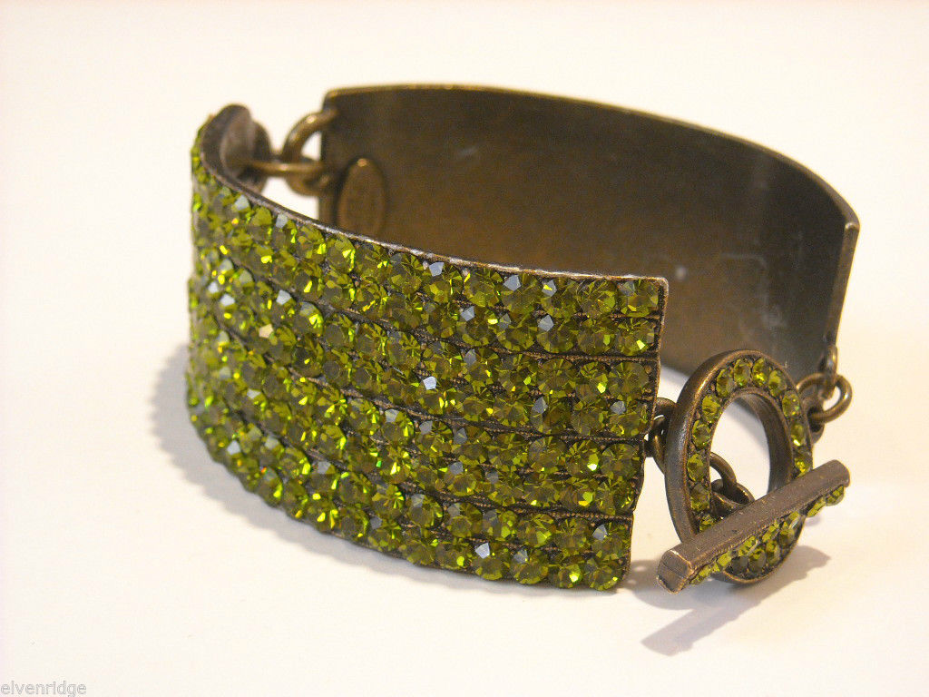 Sparkly green rhinestone bangle cuff Te Bel Designs bracelet