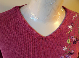 Purple Pink Long Sleeve Sweater Embroidered Flowers Made in China Tags Removed image 7