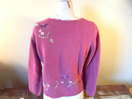 Purple Pink Long Sleeve Sweater Embroidered Flowers Made in China Tags Removed image 5