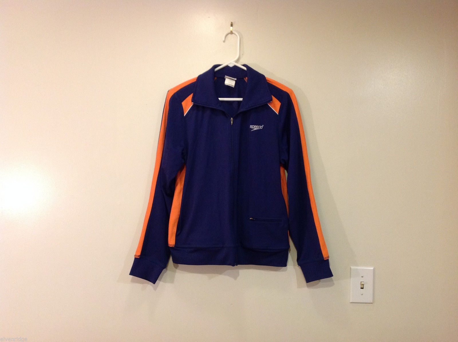 Speedo Sport Jacket Navy Blue Orange Front Zipper Side Pockets Size L