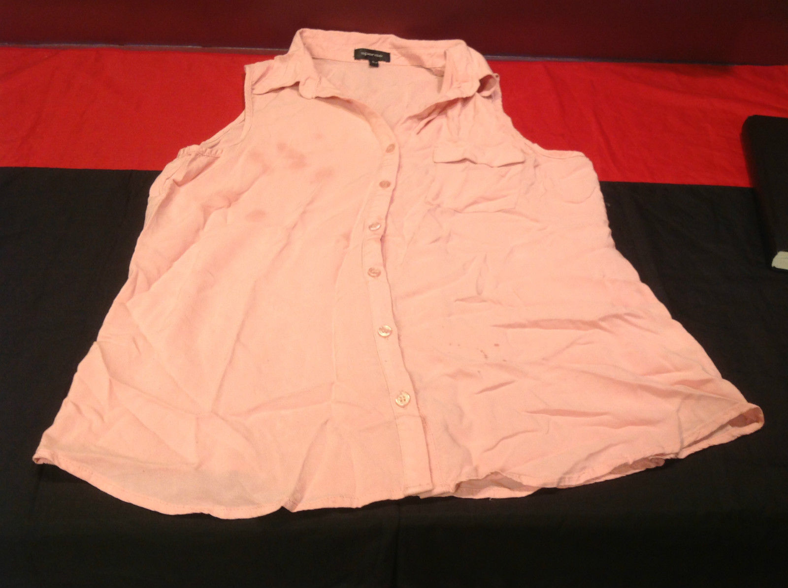 Spense Light Pink Ladies Sleeveless Blouse Button Down Front Size Large