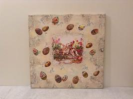 Spring Easter Bunnies Flowers Vintage Russian Artist Handmade Canvas L Mironova