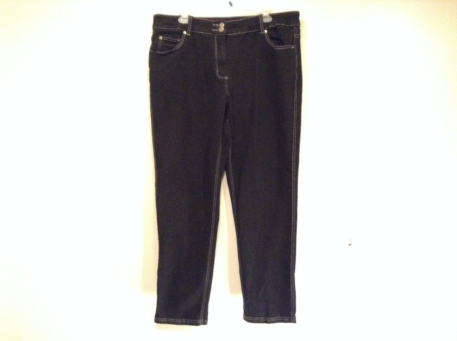 Spirited Black Jeans Size 18W Stretchy Waist Zipper Button Closure Pockets