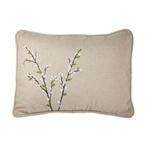 Spring Harbinger Pussy Willow Tan Beige Canvas Porch Pillow Forest Lane Dept 56 image 1