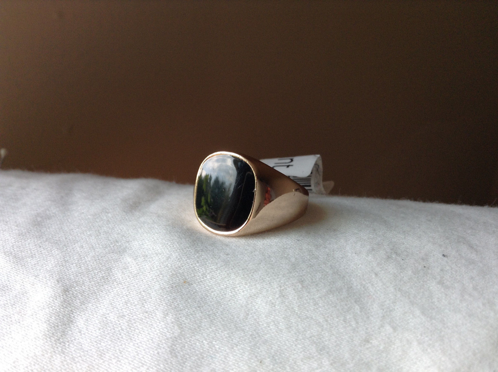 Square Black Stone Gold Tone Ring Size 9