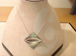 Square Mother of Pearl repurposed button pendant on silver chain necklace