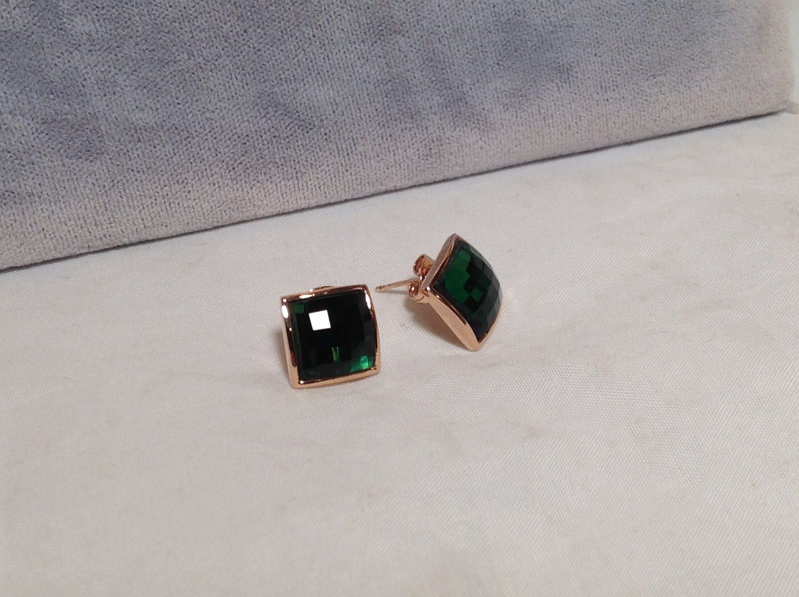 Square Green CZ Stone Stud Earrings Disco Ball Like Sparkle 18K GOLD PLATE