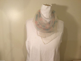 Square Light Sheer White with Pale Blue Red Squares Circles Pattern Scarf