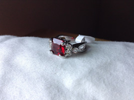 Square Red CZ with Round CZ Accents Stainless Steel Ring Size 6.75