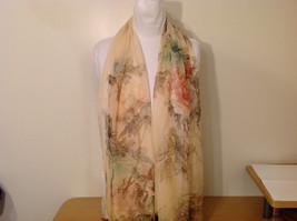 Peony Summer Sheer Fabric Scarf, pastel colors of your choice image 14