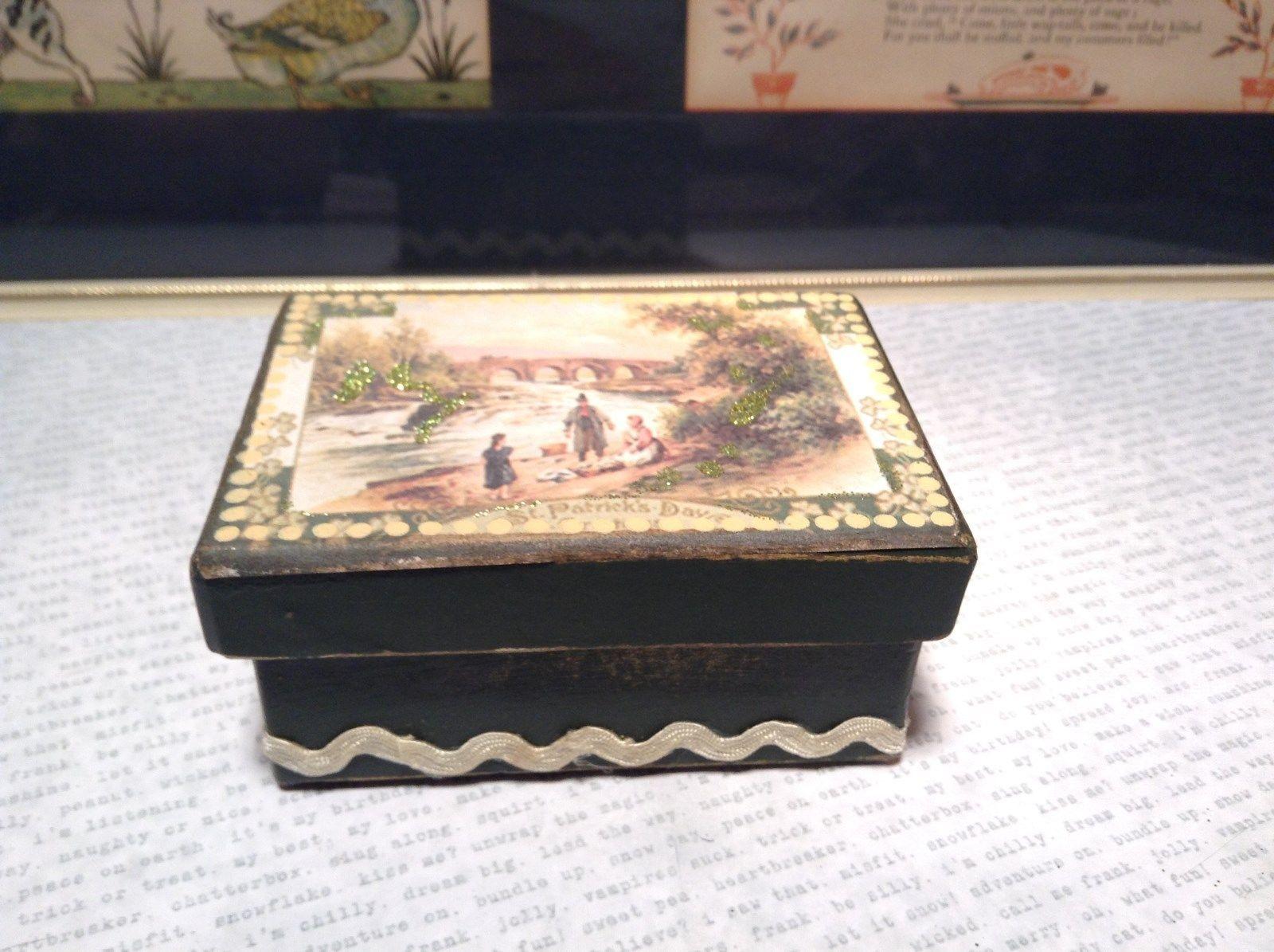 St Patricks Day River Scene Green Heavy Duty Paperboard Trinket Box Vintage Look