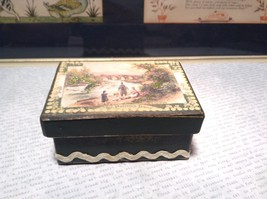 St Patricks Day River Scene Green Heavy Duty Paperboard Trinket Box Vint... - $14.85