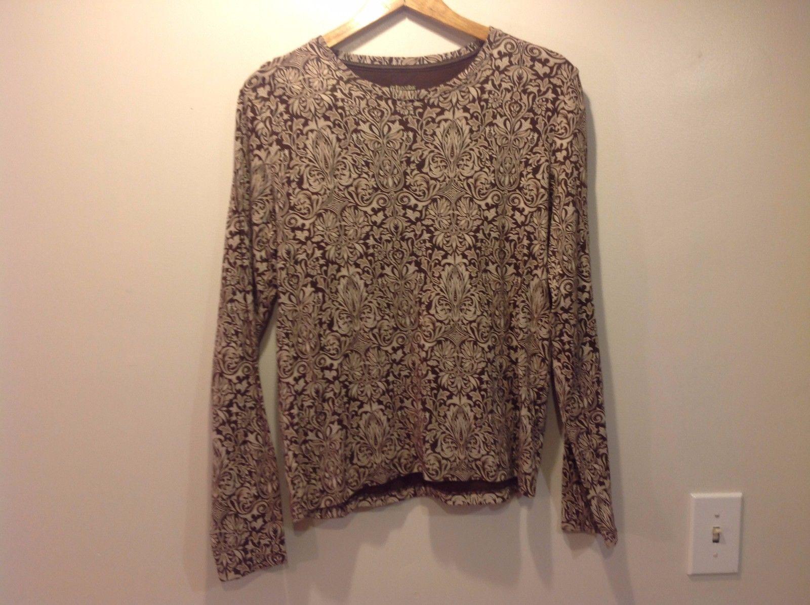 St. Johns Bay Long sleeve Floral Women Shirt Brown Beige