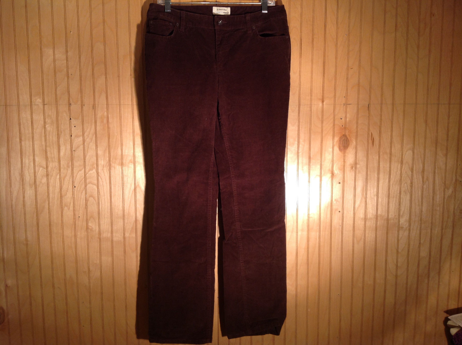 St Johns Bay Dark Purple Corduroy Classic Fit Straight Leg Casual Pants Size 8
