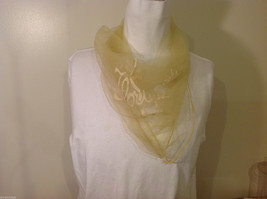 Square sheer light yellow fabric scarf with white word Florida and palm trees