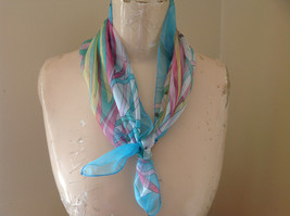 Squiggle Blue Pink Mint Design Square Scarf  Hanfei Light Weight Material