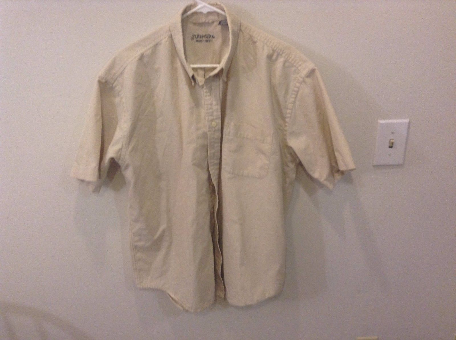 St. John's Bay Cotton Short Sleeve Work Shirt Tan