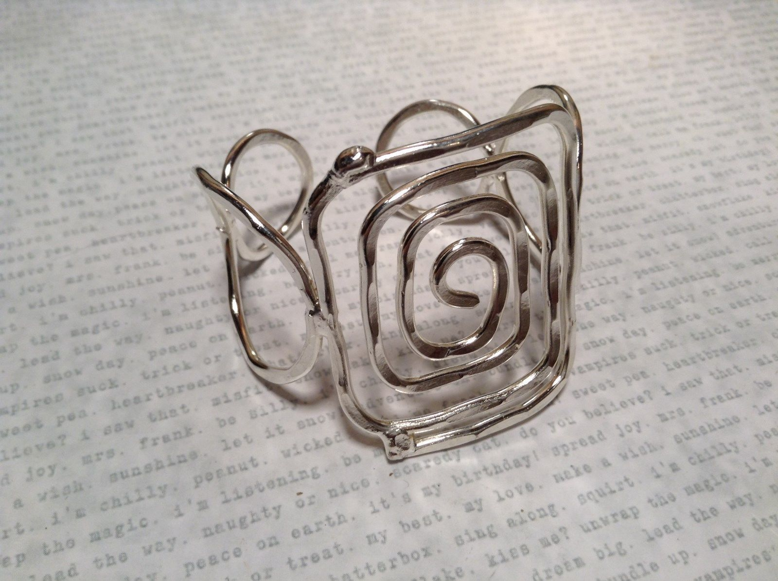 Square Wire Pattern Handmade Silver Plated Cuff Bracelet 925 Sterling Silver
