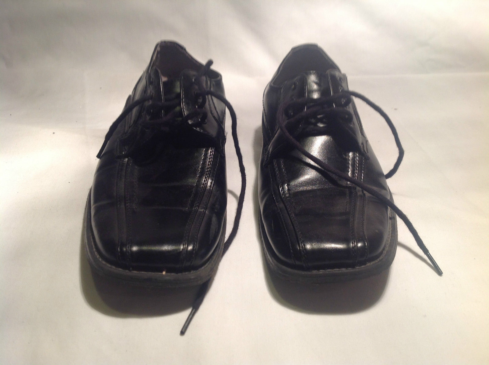 Stacy Adams Black Tied Dress Shoes Unmarked Size Good Condition Gray Insole