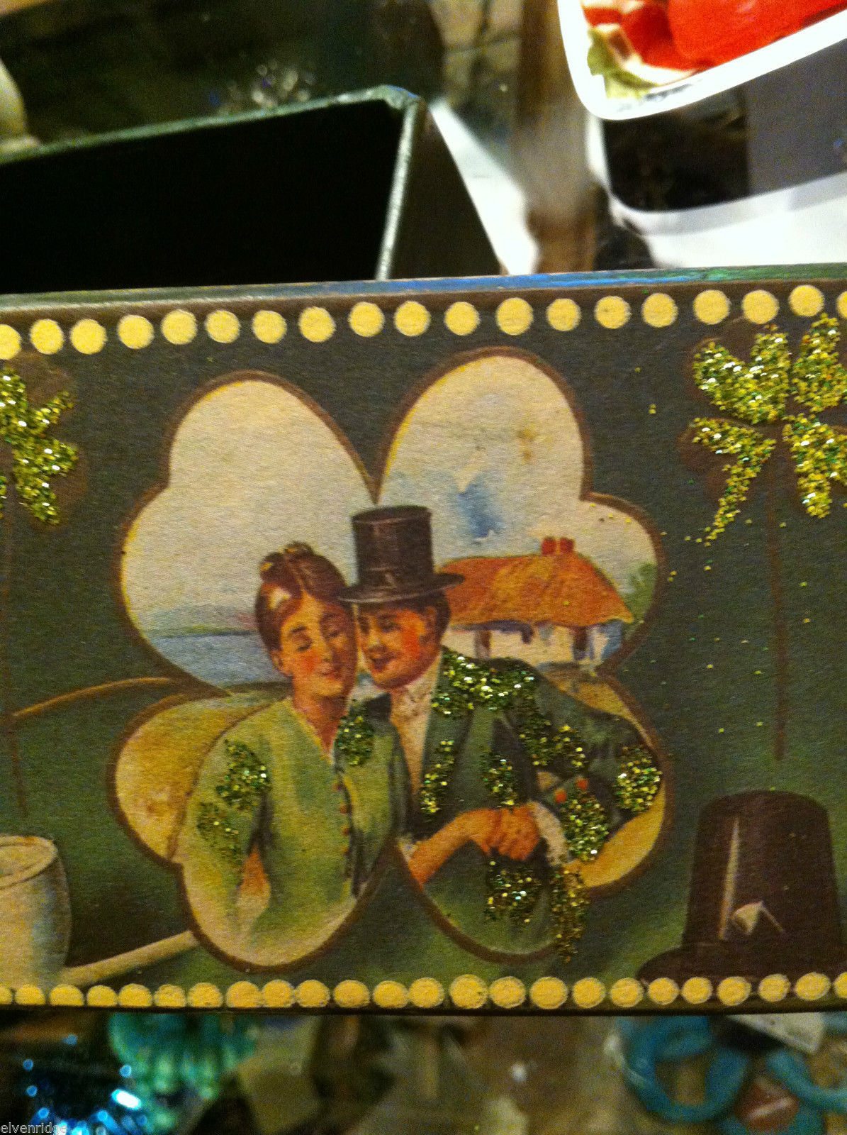 St. Patrick's Day green box glittered with 4 leaf clover Shamrock & Irish couple