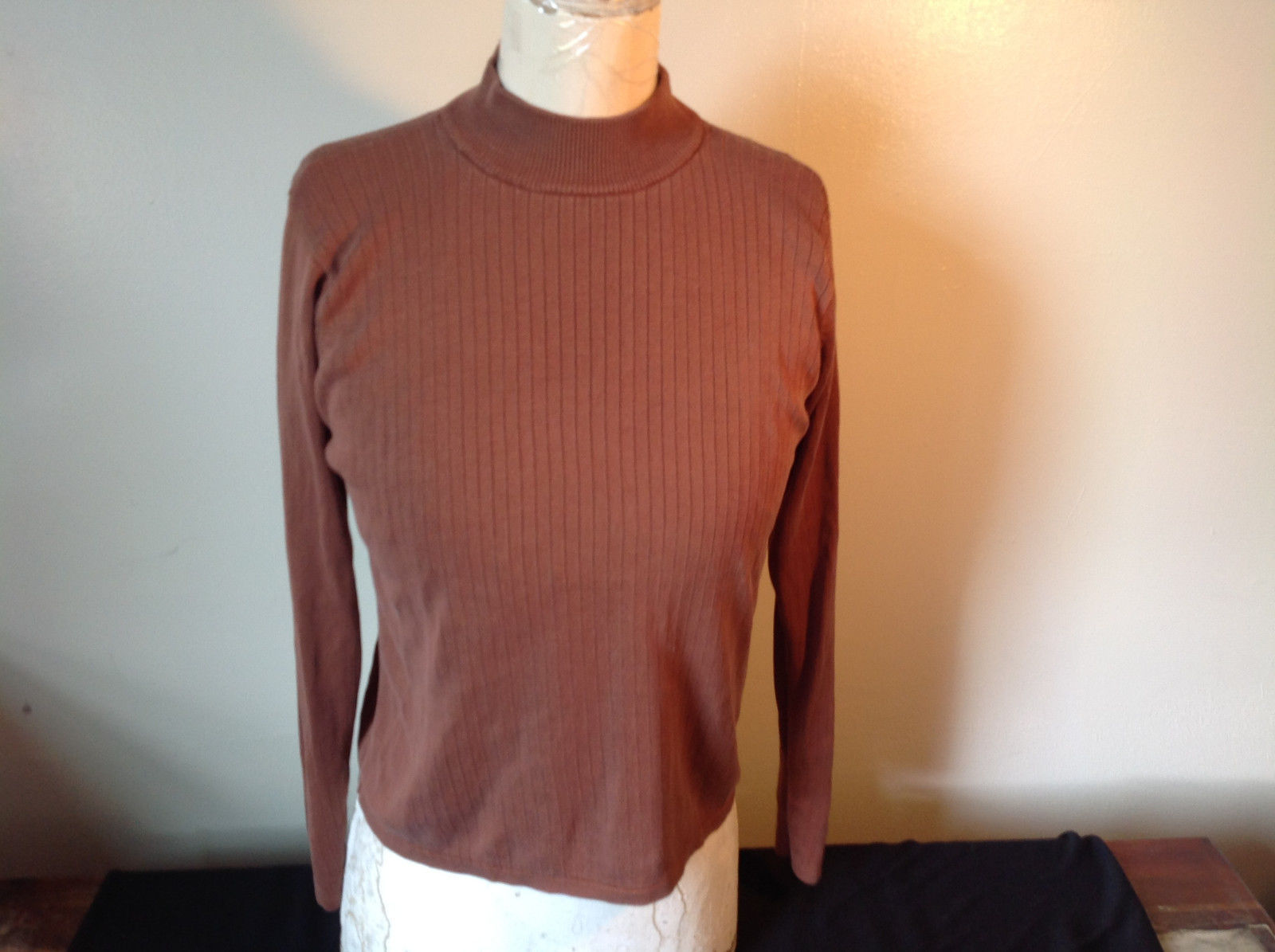 Stephanie Andrews Brown Long Sleeve Turtleneck Shirt Striped Design Size M