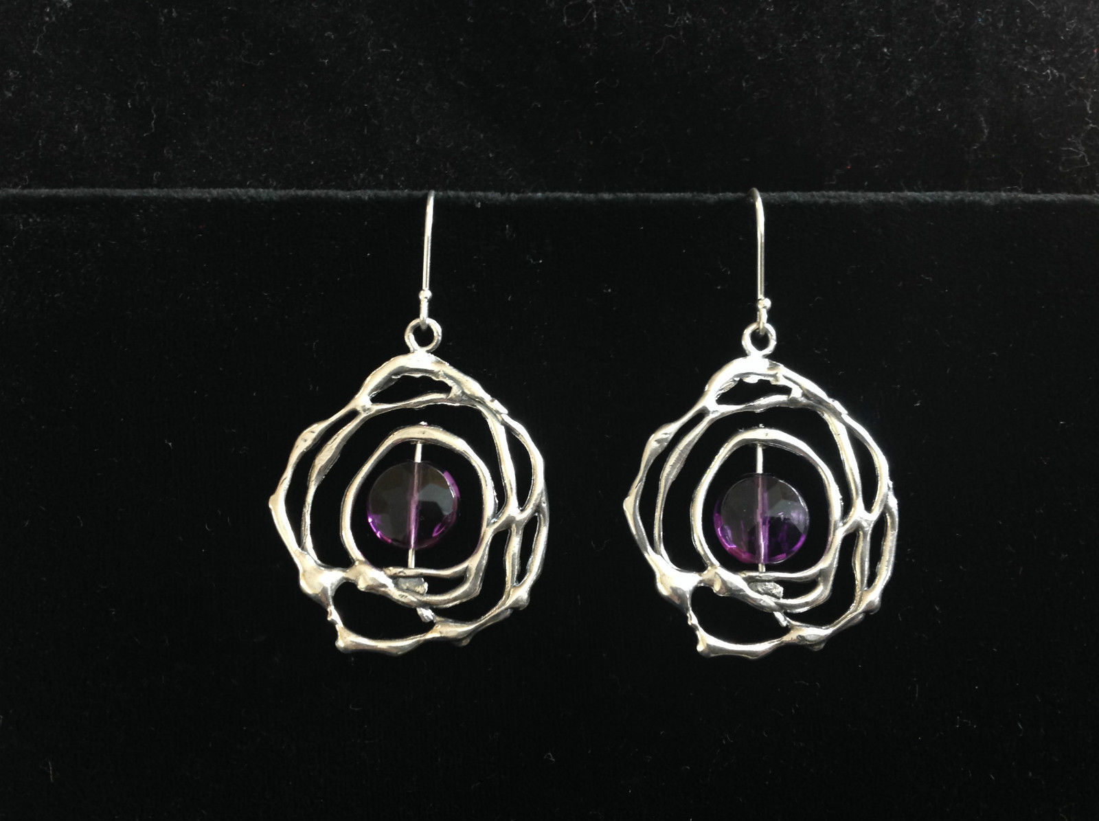 Sterling Silver Amethyst Faceted Drop Earrings Flower Pattern Deep Purple