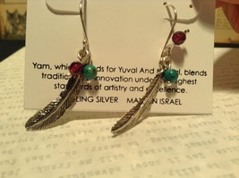 Sterling Silver Intricate Feather Earring with Semi Precious Stones