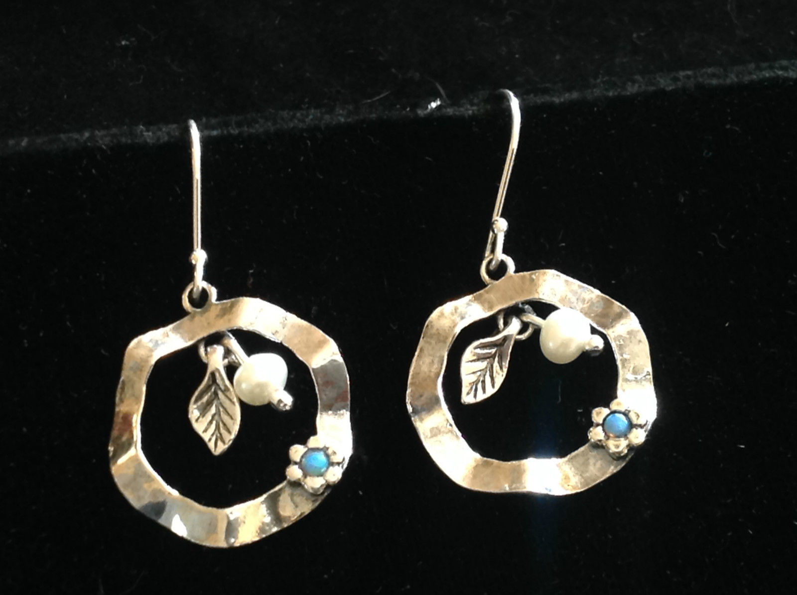 Sterling Silver Wavy Disc Leaf Pearl Turquoise Flower Drop Earrings Light