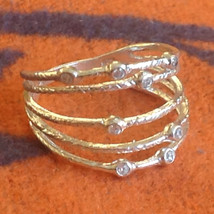 Sterling Silver Strappy Multiple Band CZ Textured Ring Size Choice 7 or 8